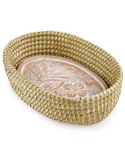 Global Goods Partners Handwoven Jute Bread Basket with Terra Cotta Platter