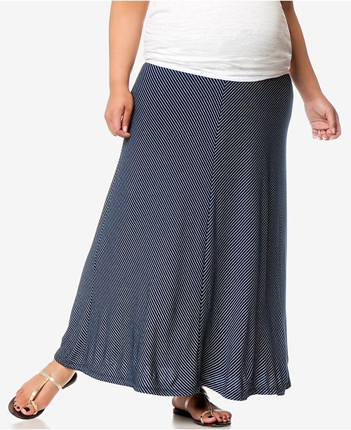 34f42a0f3dfe Motherhood Maternity Plus Size Striped Maxi Skirt & Reviews ...