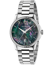 Gucci Unisex Swiss G-Timeless Stainless Steel Bracelet Watch 38mm YA126458