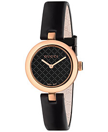 Gucci Women's Swiss Diamantissima Black Leather Strap Watch 27mm YA141501