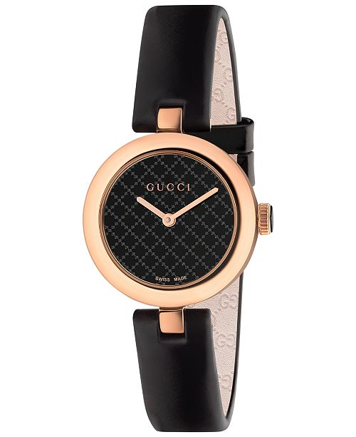 7f03a4491a8 ... Gucci Women s Swiss Diamantissima Black Leather Strap Watch 27mm  YA141501 ...