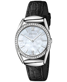 Gucci Women's Swiss Horsebit Diamond (1/3 ct. t.w.) Black Leather Strap Watch 30mm YA140506