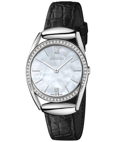 Gucci Women's Swiss Horsebit Diamond (1/3 ct. t.w.) Black Leather Strap Watch 30mm YA140506