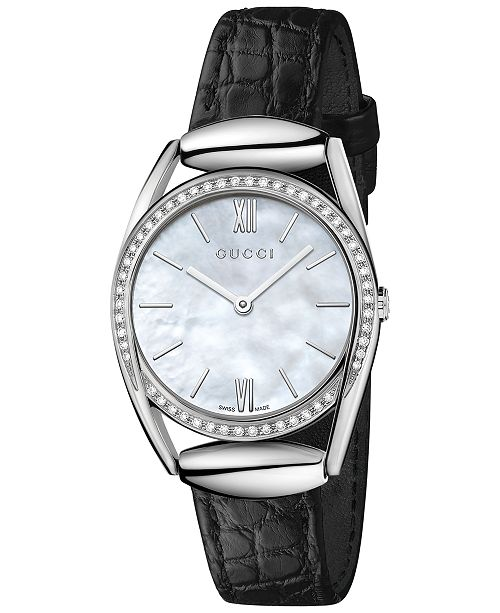 731b2bfaed5 ... Gucci Women s Swiss Horsebit Diamond (1 3 ct. t.w.) Black Leather Strap  ...