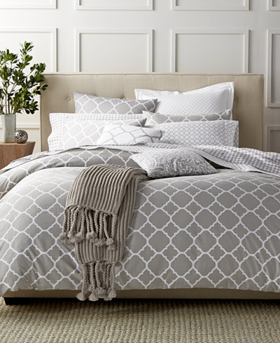 Charter Club Damask Designs Geometric Dove 3 Piece Duvet Sets, Created for Macy's