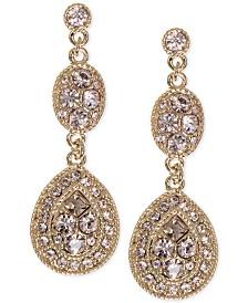 Givenchy Earrings, Crystal Linear Teardrop