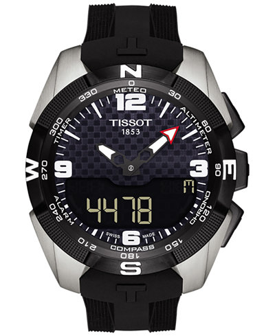 Tissot Men's Swiss Solar NBA T-Touch Expert Black Rubber Strap Watch 45mm T0914204720701