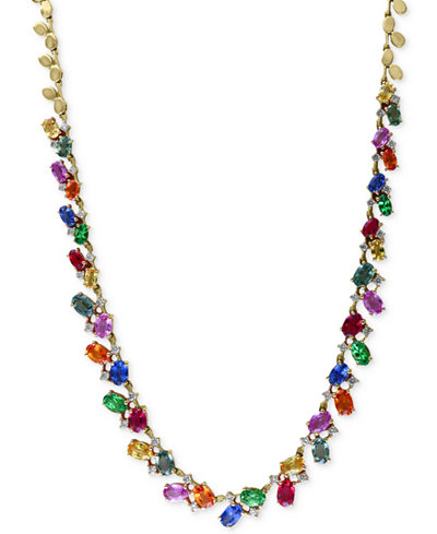 Watercolors by EFFY Multi-Gemstone (17-3/4 ct. t.w.) and Diamond (1 ct. t.w.) Statement Necklace in 14k Gold, Created for Macy's