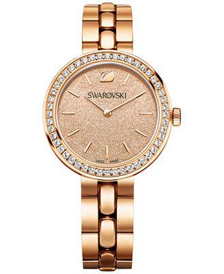 Swarovski Women's Swiss Daytime Crystal Accent Rose Gold-Tone Stainless Steel Bracelet Watch 34mm
