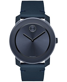movado watches macy s movado men s swiss bold blue leather strap watch 42mm 3600370