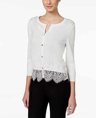 CeCe Lace-Hem Cardigan - Sweaters - Women - Macy's