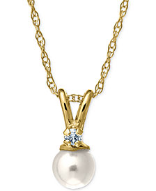 Children's Cultured Freshwater Pearl and Diamond Accent Necklace in 14k Gold