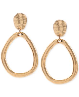 Image of Anne Klein Hammered-Style Clip-on Drop Hoop Earrings