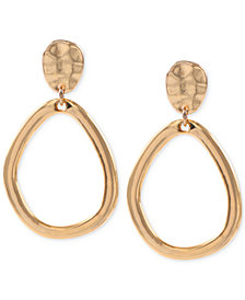 Anne Klein Hammered-Style E-Z Comfort Clip-on Drop Hoop Earrings