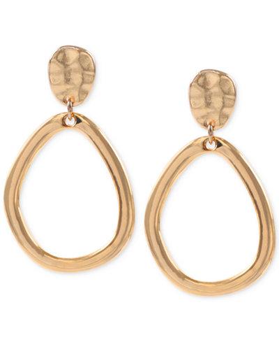 Anne Klein Hammered-Style Clip-on Drop Hoop Earrings