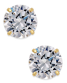 Cubic Zirconia Round Stud Earrings in 10k Gold