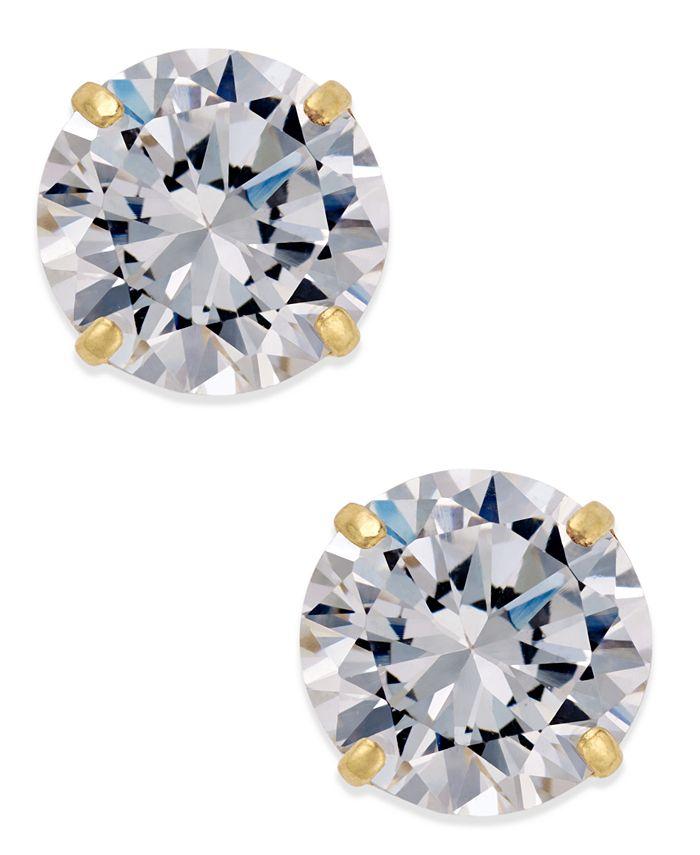 Macy's - Cubic Zirconia Round Stud Earrings in 10k Gold