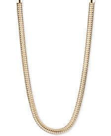 Anne Klein Silver-Tone Flat Chain Necklace