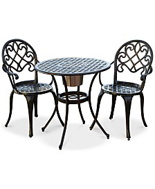 Lellman Cast Aluminum Outdoor Bistro Set, Quick Ship