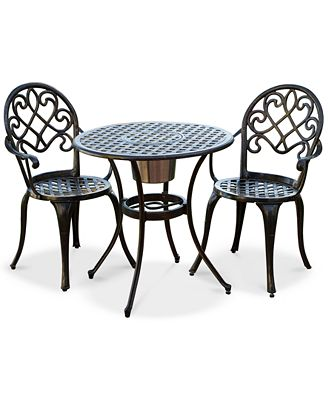 Noble House Lellman Cast Aluminum Outdoor Bistro Set Quick Ship