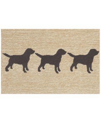 Liora Manne Front Porch Indoor/Outdoor Doggies Black 2' x 3' Area Rug