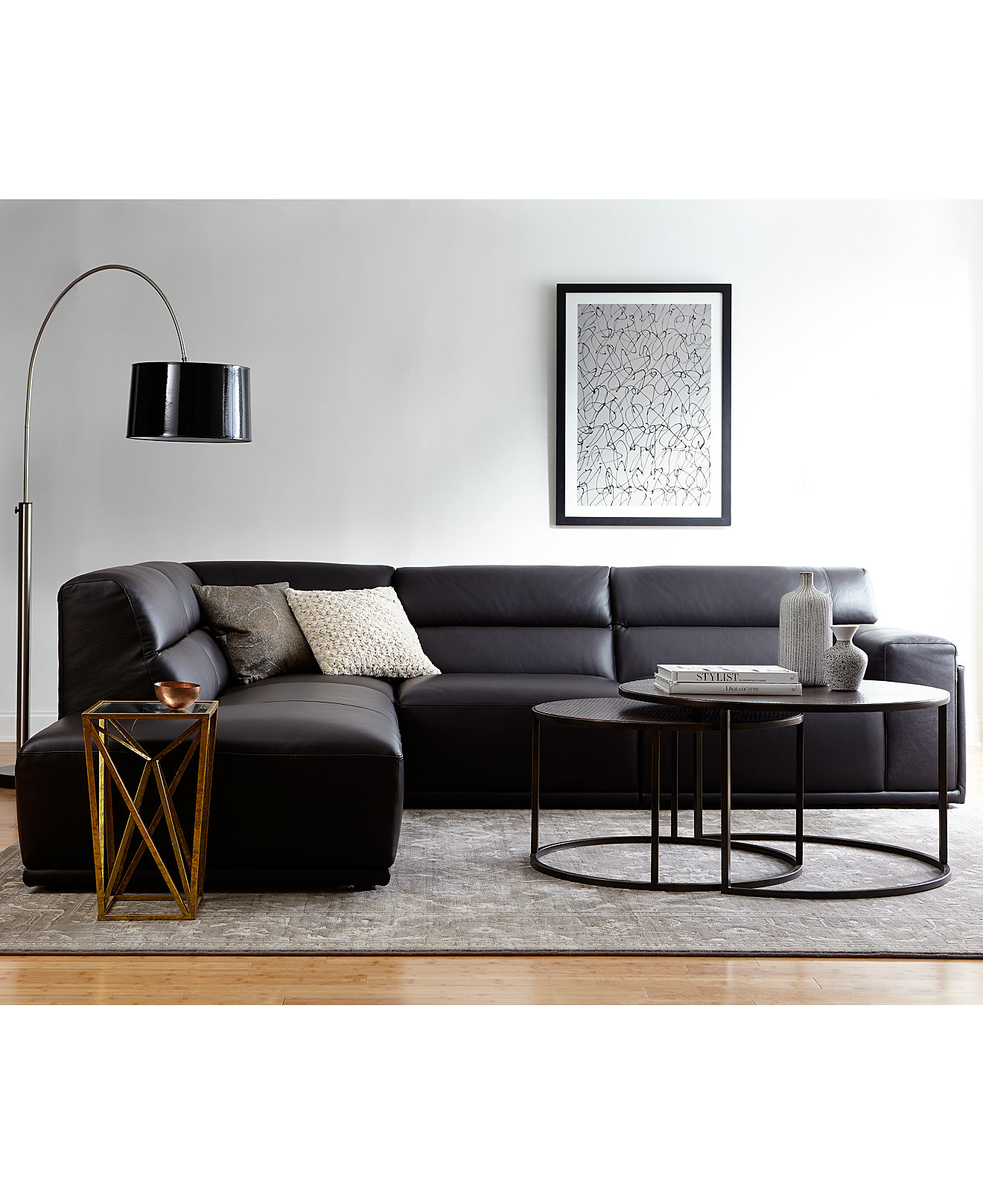 Daryl leather sectional collection