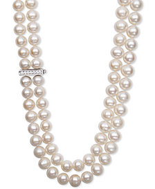 White Cultured Freshwater Pearl (8-1/2mm) and Cubic Zirconia Double Strand Necklace