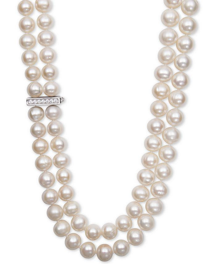 Belle de Mer - White Cultured Freshwater Pearl (8-1/2mm) and Cubic Zirconia Double Strand Necklace