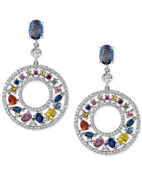 Macy's Multi-Sapphire (4-2/3 ct. t.w.) and Diamond (1-1/4 ct. t.w.) Gypsy Hoop Earrings in 14k White Gold