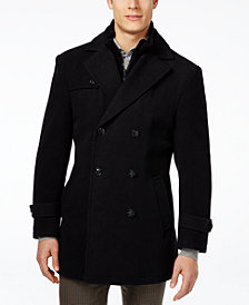 Lauren Ralph Lauren Labrada Double-Breasted Wool-Blend Peacoat with Knit Bib Inset