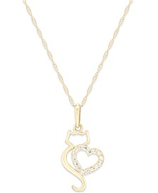 Cubic Zirconia Cat Love Pendant Necklace in 10k Gold