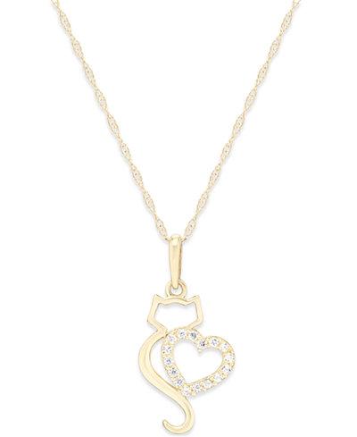 Cubic Zirconia Cat Love Pendant Necklace in 10k Gold