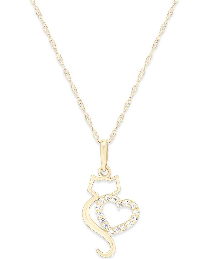 Macy's - Cubic Zirconia Cat Love Pendant Necklace in 10k Gold