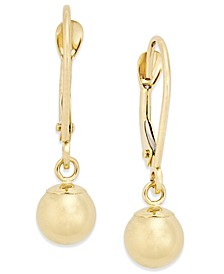 Round Ball Drop Earrings in 10k Gold