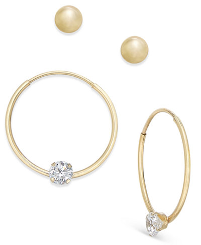 2-Pc. Set Ball Stud and Cubic Zirconia Hoop Earrings in 10k Gold