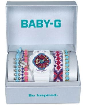 Baby-g Women's White Resin Strap Watch and Bracelets Gift Set 46x43mm BA112-7ABOX - A Macy's Exclusive