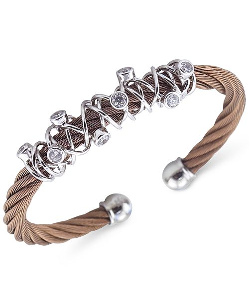 396be3654bb CHARRIOL Women's Tango Bronze PVD Stainless Steel with White Topaz Stones Cable  Bangle Bracelet