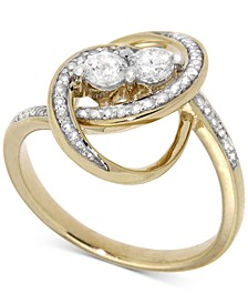 Diamond Two-Stone Oval Ring (1/2 ct. t.w.) in 14k Gold, Created for Macy's