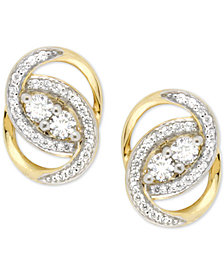 Wrapped In Love Diamond Oval-Link Earrings (1/2 ct. t.w.) in 14k Gold, Created for Macy's