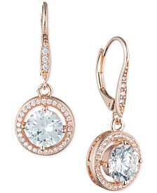 Anne Klein Round Crystal and Pavé Drop Earrings