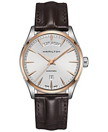 Men's Swiss Automatic Jazzmaster Brown Leather Strap Watch 42mm H42525551