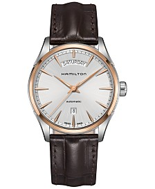 Hamilton Men's Swiss Automatic Jazzmaster Brown Leather Strap Watch 42mm H42525551