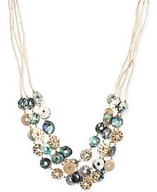 Gold-Tone Tube Chain Multi-Disc Collar Necklace