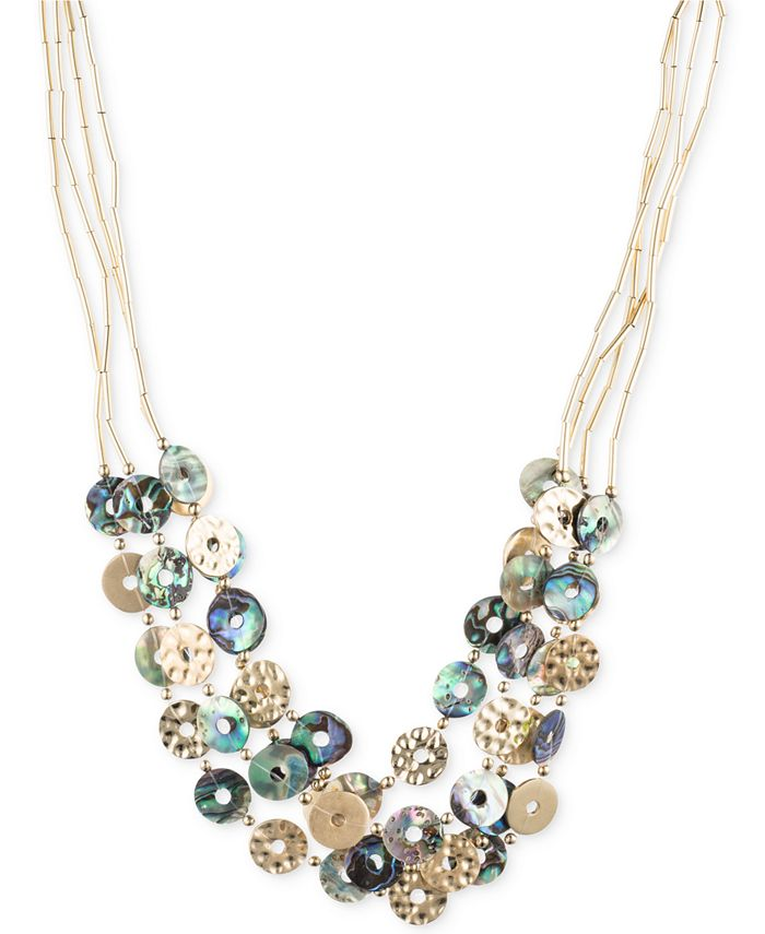 lonna & lilly - Gold-Tone Tube Chain Multi-Disc Collar Necklace