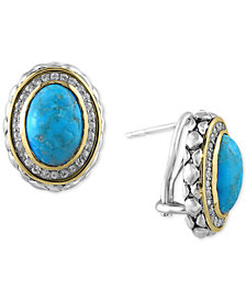 Turquesa by EFFY Manufactured Turquoise (6-5/8 ct. t.w.) and White Sapphire (1/2 ct. t.w.) Earrings in Sterling Silver and 18k Gold
