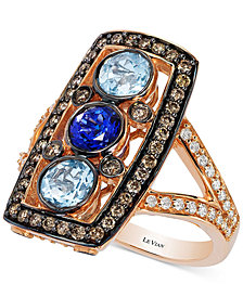 Le Vian Chocolate Deco Estate™ Aquamarine (7/8 ct. t.w.), Tanzanite (1/2 ct. t.w.) and Diamond (3/4 ct. t.w.) Statement Ring in 14k Rose Gold, Created for Macy's