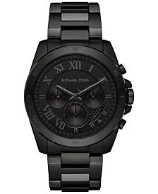 michael kors mens watches macy s michael kors men s chronograph brecken black ion plated stainless steel bracelet watch 44mm mk8482