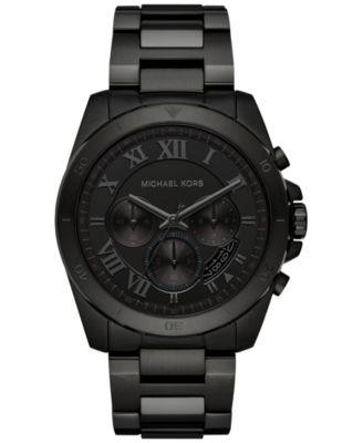 Michael Kors Men\u0026#39;s Chronograph Brecken Black Ion-Plated Stainless Steel Bracelet Watch 44mm MK8482