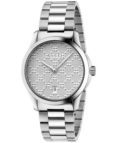 Gucci Unisex Swiss G-Timeless Stainless Steel Bracelet Watch 38mm YA126459