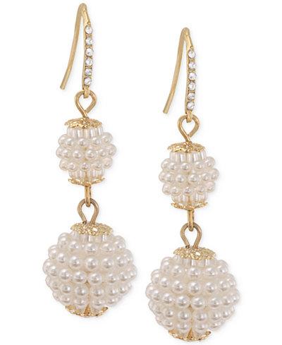 Carolee Gold-Tone Imitation Seed Pearl Double Drop Earrings